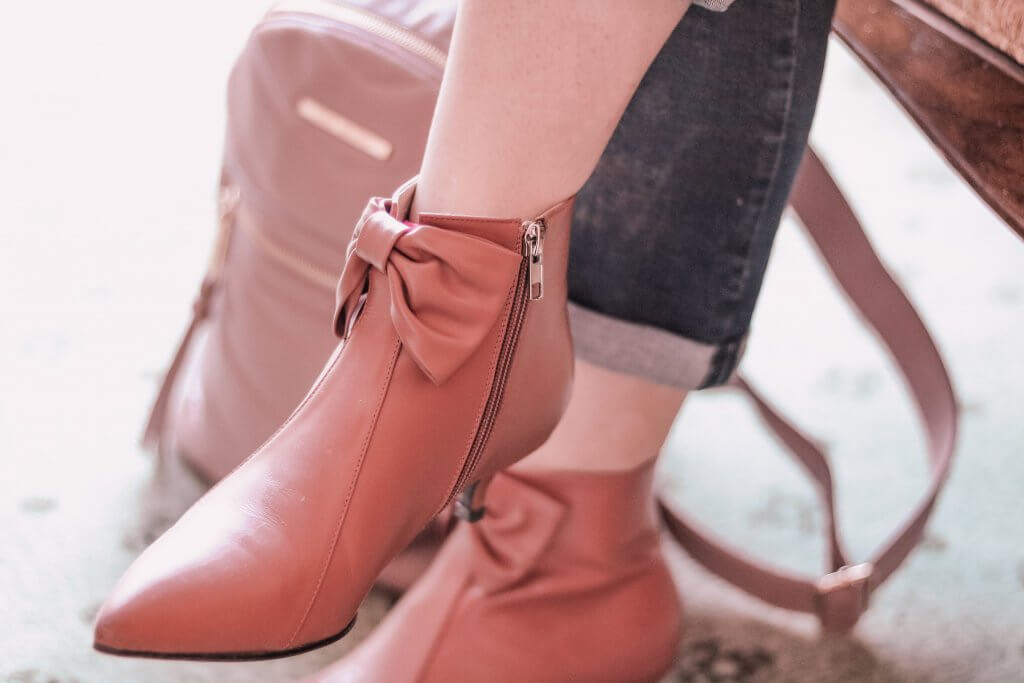Pink calf skin booties with steve madden pink backpack