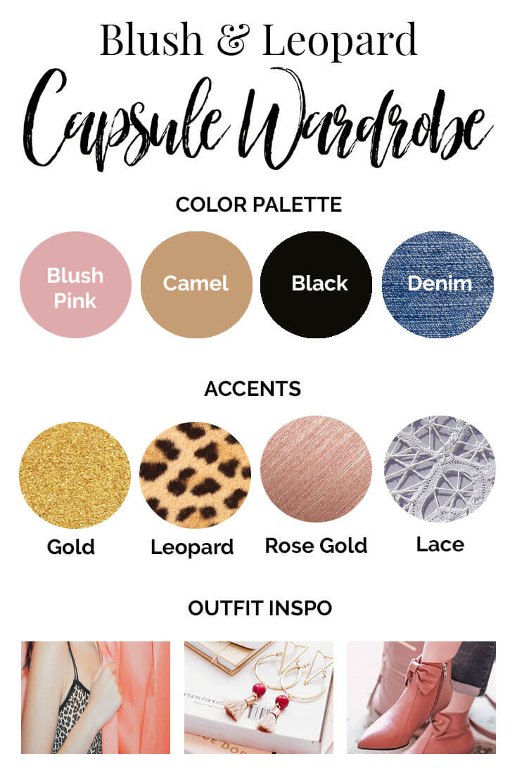 Leopard and Blush Capsule Wardrobe Color Palette
