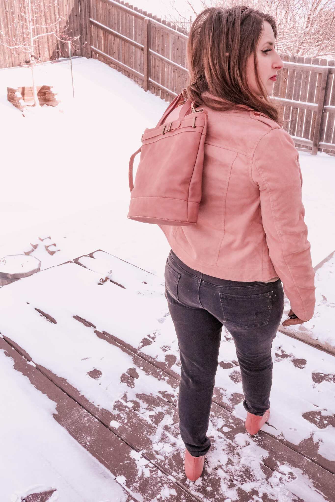 pink suede outfit